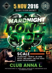 Hardnight- DontStop 5. November, 22 Uhr Club Anna L.